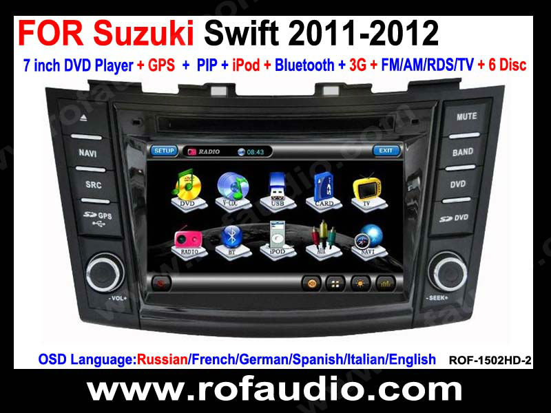 Car stereo multimedia player with GPS Navigation For Suzuki Swift 2011-2012