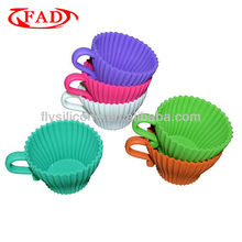 Creative Teacup Shaped Food Grade Silicone Rubber Cake Mode,Set of 6