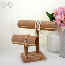 Wholesale Necklace Double Tier T-Bar Watch Bracelet Bangle Wooden Jewelry Display Stand
