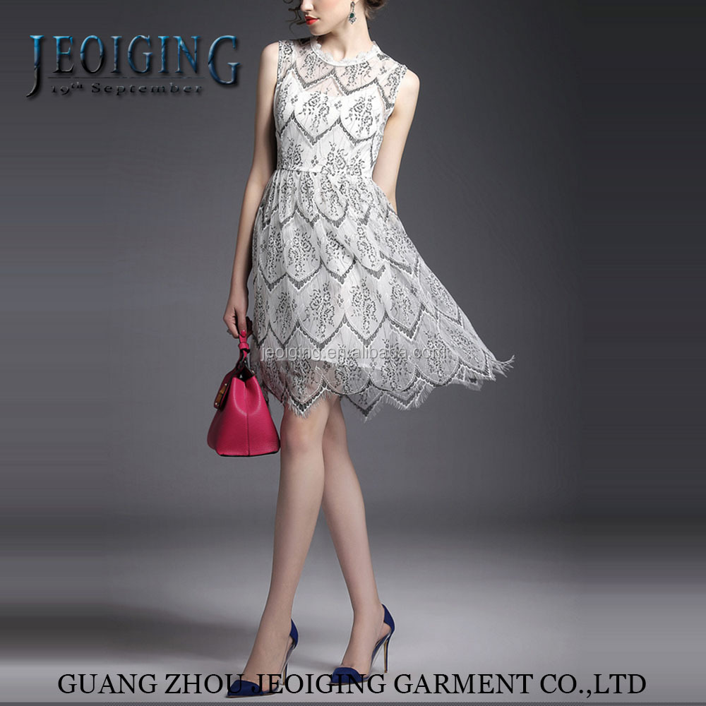 elegant and simple lace sleveless summer party dress for women and girls'fashion dress