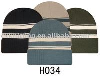 customized black and white striped knit hat