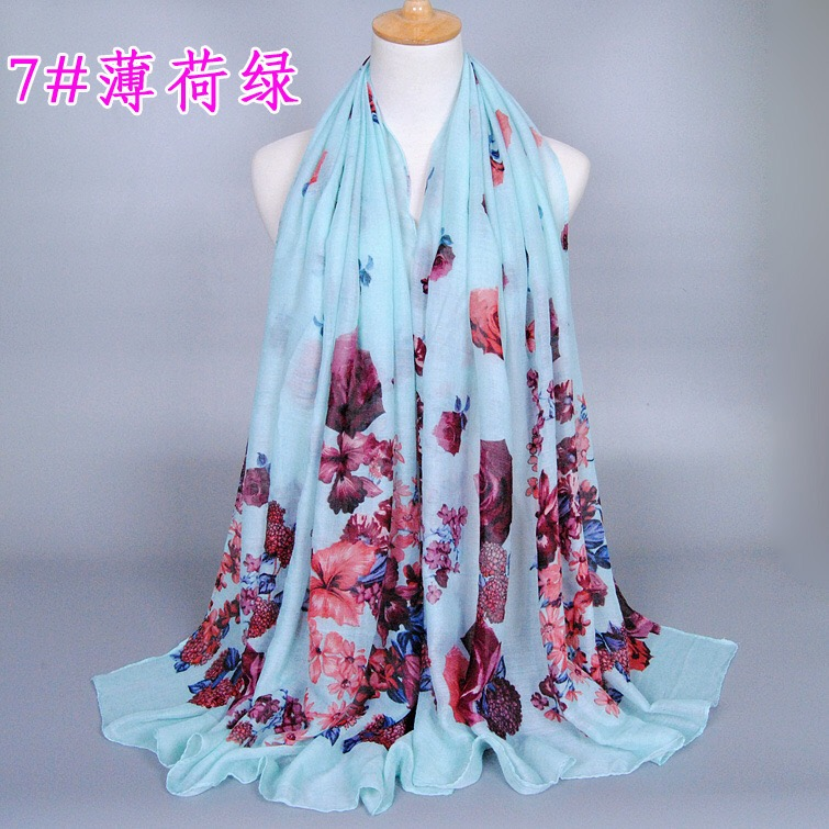 2018 latest chinese style <strong>scarf</strong> with gorgeous floral viscose hijab big flower shawl muslim hijab