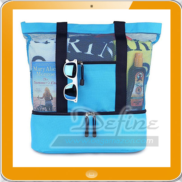 Large 2 in 1 mesh beach bag with cooler compartment