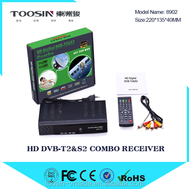 Vmade factory manufacturer fta digital dvb t2 set top box combo t2 s2 satellite tv receivers
