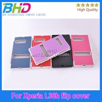 Flip leather case for Sony L36h Xperia Z window design