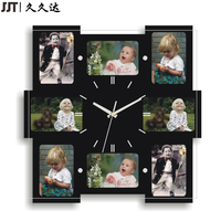 MDF Wooden Personalized Wall Clock 8 PCS Photo Frame With Clock