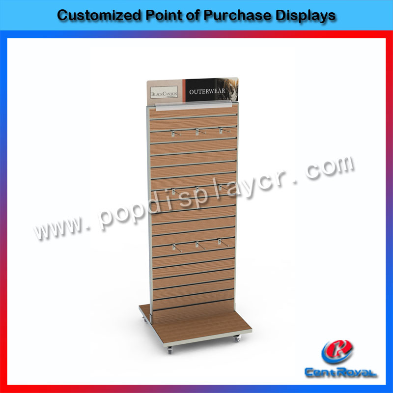 Wholesale retail store floor wood display stand slatwall with wheels