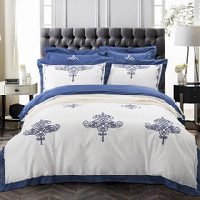 hotel living embroidery bedding set 100% cotton fabric