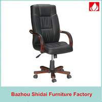 Heated leather and wood office armchair SD-8220