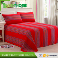 Chinese tridational red striped double bed sheet for sale,bed sheet price