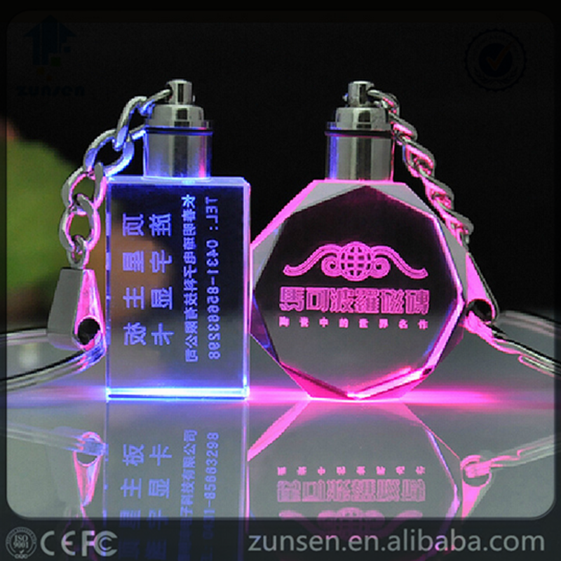 3D Laser Engraved Cube Crystal Led Keychain Photo Led Crystal Keychain