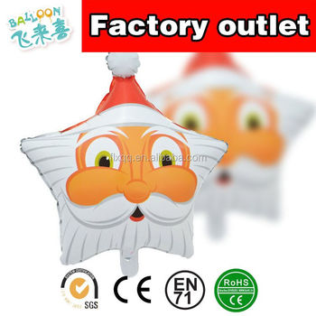 The five-star Star Christmas Santa head balloon balloon wholesale LAORENTOU Christmas Snowman helium balloon