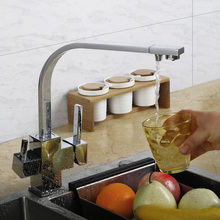 Ceramic Valve Copper Faucet Tap Kitchen Brass Drinking Water 3 Way Kitchen Faucet