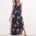 Wholesale clothing mexico navy floral print halter ruffle dress maxi dresses long