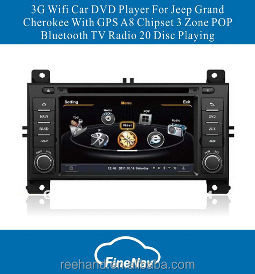 3G Wifi Car DVD Player For Jeep Grand Cherokee With GPS A8 Chipset 3 Zone POP Bluetooth TV Radio 20 Disc Playing