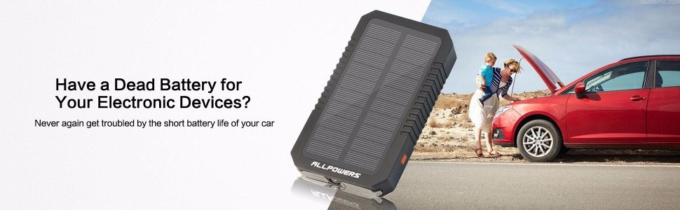 ALLPOWERS Mini Portable Real 6000mAh Car Battery Solar Jump Starter Booster Power Bank For 12V Auto Battery.