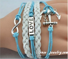 2015 Fashion Leather Cheap Anchor Charm Leather Bracelet Yiwu