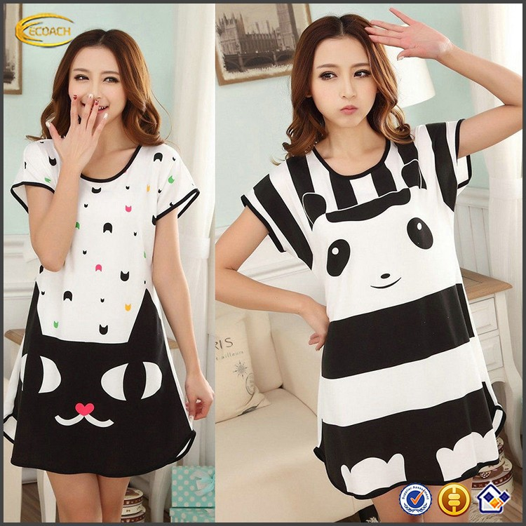 OEM Women Lovely Casual Blouse Short Sleeve Sleepshirt animal funny pajamas