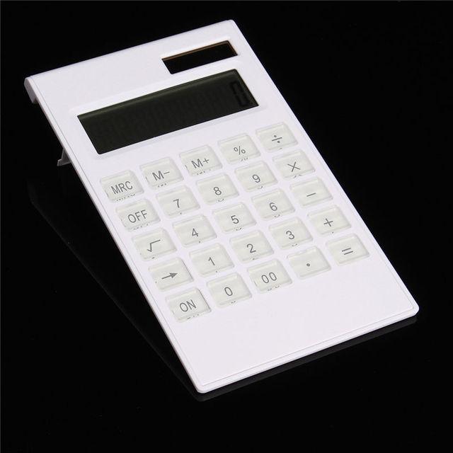 Wholesale Slim Portable Mini 12 Digital Calculator Solar Power Energy Crystal Keyboard Dual Power Supply Rekenmachine