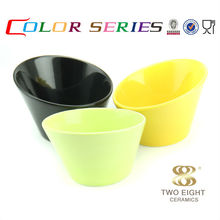 Ceramic slanted black unique color soup microwave cake bowl