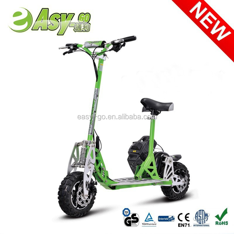 easy-go/Uberscoot/EVO world-first 2 speed folding big wheel gas scooter with removeable seat