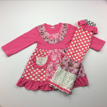 2018 Newest Baby-Girls White with fuchsia Dot Top&Pant Outfits factory directly supply kids branded clothing wholesale