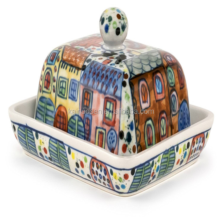 Personalized Handmade Color Porcelain Village Butter Dish