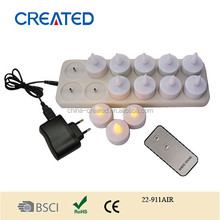 Fashion 12 LED Night Rechargeable Flameless Tea Light Candle - White Base, rechargeable electric tea light led candle