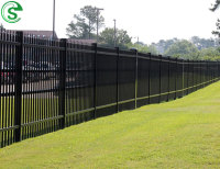 Powder coated black 6ft solid steel fence metal fencing