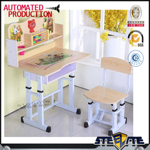 adjustable height children desk and chair single kids study table and chair with wood desktop