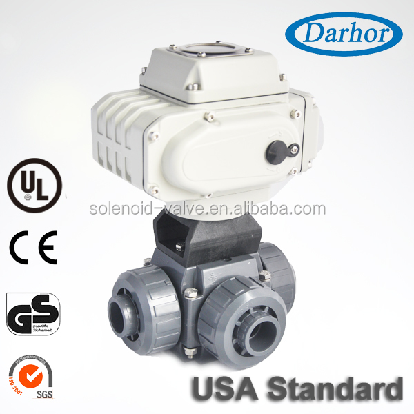 Excellent quality electric 3 way pvc ball valve