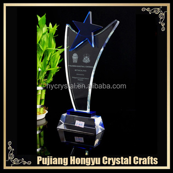 wholesale crystal blue star trophies and awards
