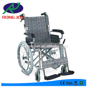chromed steel folding manual diasbled wheelchair with leather seat