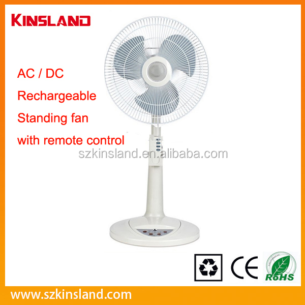 Top sale 16'' AC / DC rechargeable standing fan with remote control