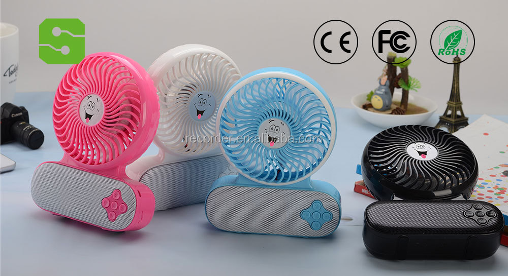 Summer cooling portable mini bluetooth fan with interal speaker