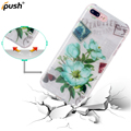 IMD Printed Hard PC Back Cover Transparent Crystal Clear TPU Bumper Case for iphone 7plus 8plus Flower Shockproof Cell PhoneCase