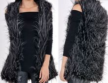 Fake fur woman vest/long wool Faux peacock feather lady waistcoat