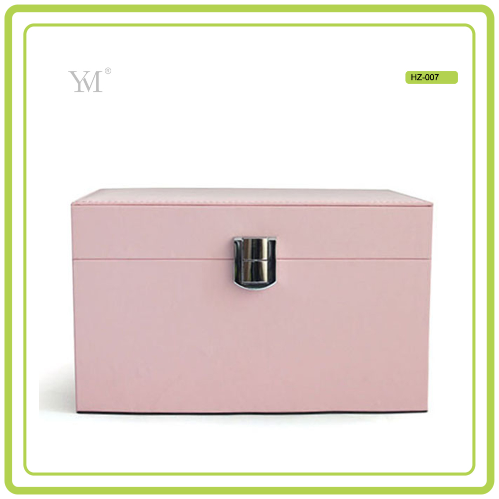new product OEM lady pink PU leather 2016 professional beauty box makeup vanity case with lighted mirror makeup case
