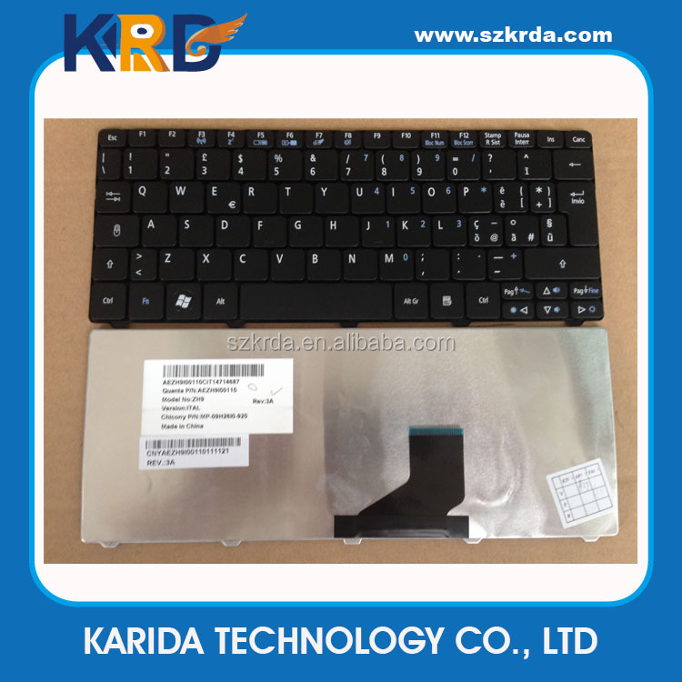 IT/Italian Laptop Keyboard for Acer One D522 D260 533 521 532G 532H keyboard black/white