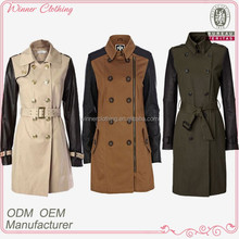 2014 new factory leather sleeve trench coat for women
