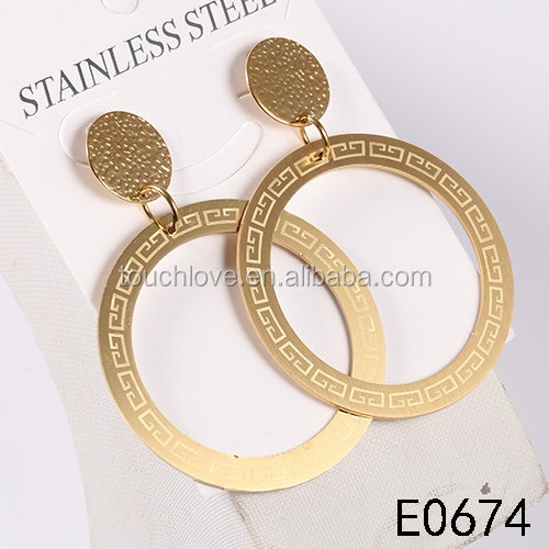 Charming High quality cheap price Stainless Steel 18K Gold Plated Big round shape drop Earring For Women