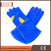 yellow leather work gloves/big size long welding gloves