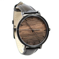 stainless steel case and leather strap simple fashion men watch with miyota movement good quality wood watch watch