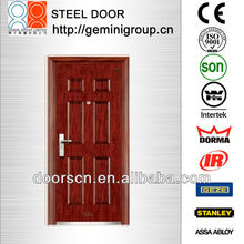 6 panel classic water proof steel doors in walnut color for Mid-East countries