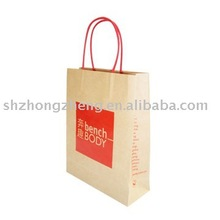 brown kraft paper bags for shopping with handles, twisted, flat bottom, side gusset