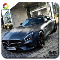 TSAUTOP RoHS Certificate 1.52*30m Air Free Bubbles Adhesive stickers Matte Black Car Vinyl Wrap