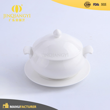China Manufacturer white porcelain ceramic round soup tureen with ladle