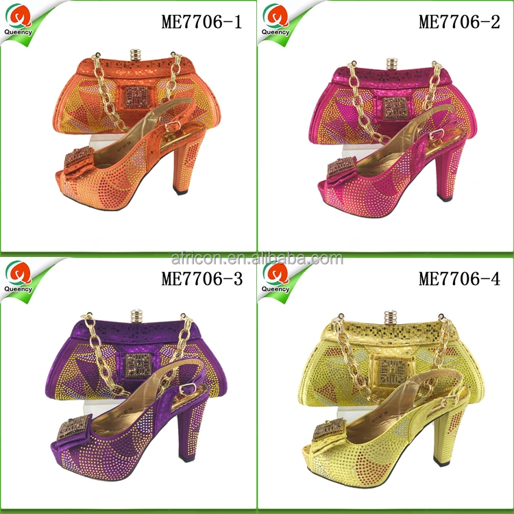 ME7706 Queency Wholesale Elegant Design Italian Evening Shoes with Matching Bags Set High Quality