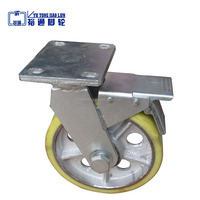 Factory direct sale 8inches industrial heavy duty casters, swivel brake caster wheel, 1 ton load PU caster wheels