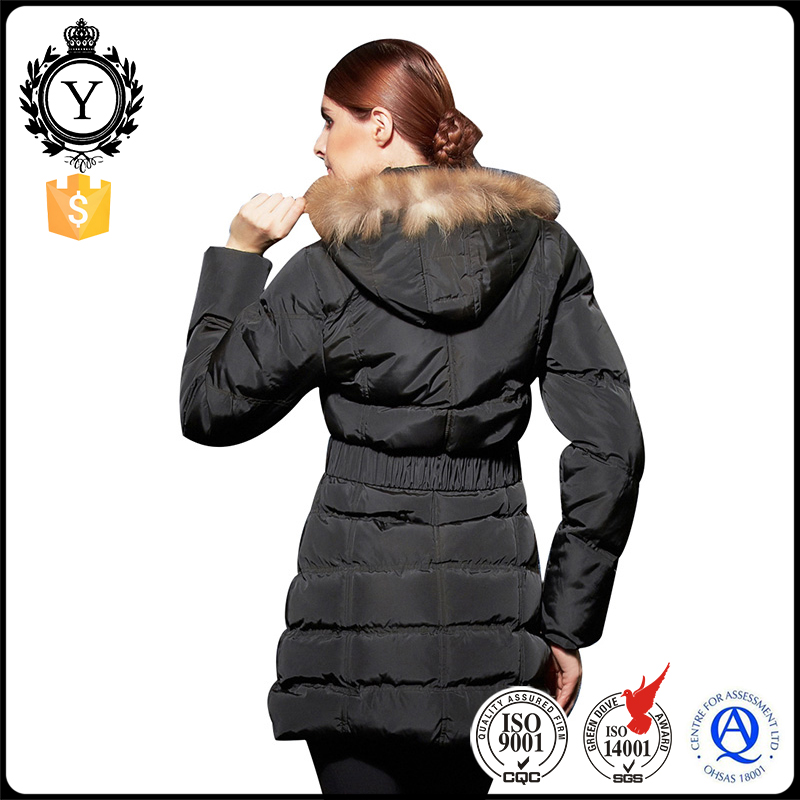 COUTUDI customize high quality fashion design women black fancy hoodie down jacket for winters with fur